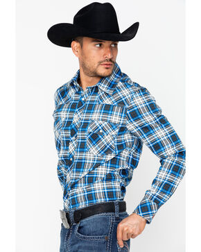 Rock & Roll Cowboy Men's Fire Resistant Plaid Twill Shirt , Black, hi-res