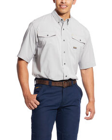 Ariat Men's Alloy Rebar Made Tough Vent Short Sleeve Work Shirt - Big , Grey, hi-res