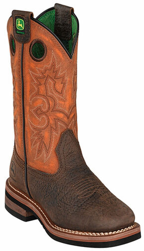 John Deere Boys' Johnny Popper Orange Western Boots - Square Toe, Brown, hi-res