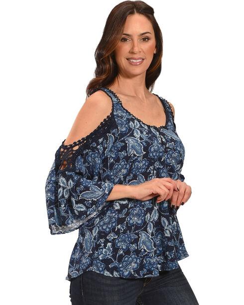Luna Chix Women's Navy Floral Crochet Cold Shoulder Top, Navy, hi-res