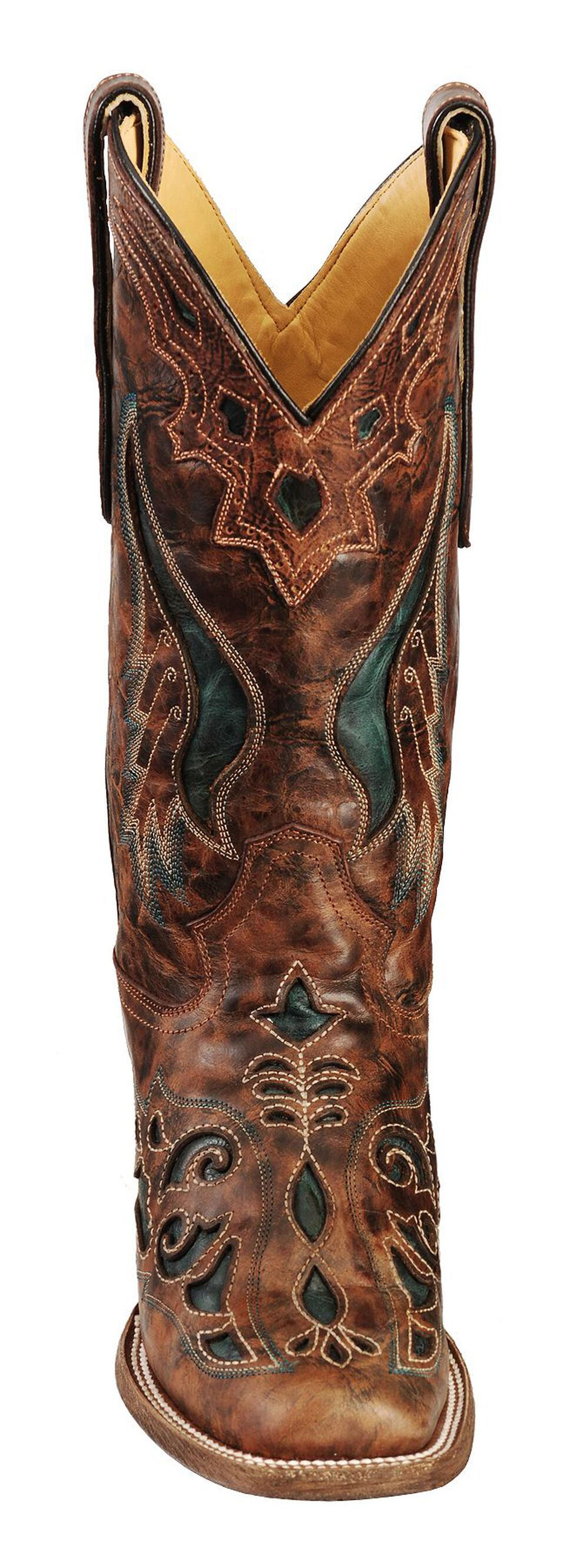 Corral Cognac & Olive Inlay Cowgirl Boots - Square Toe, Cognac, hi-res