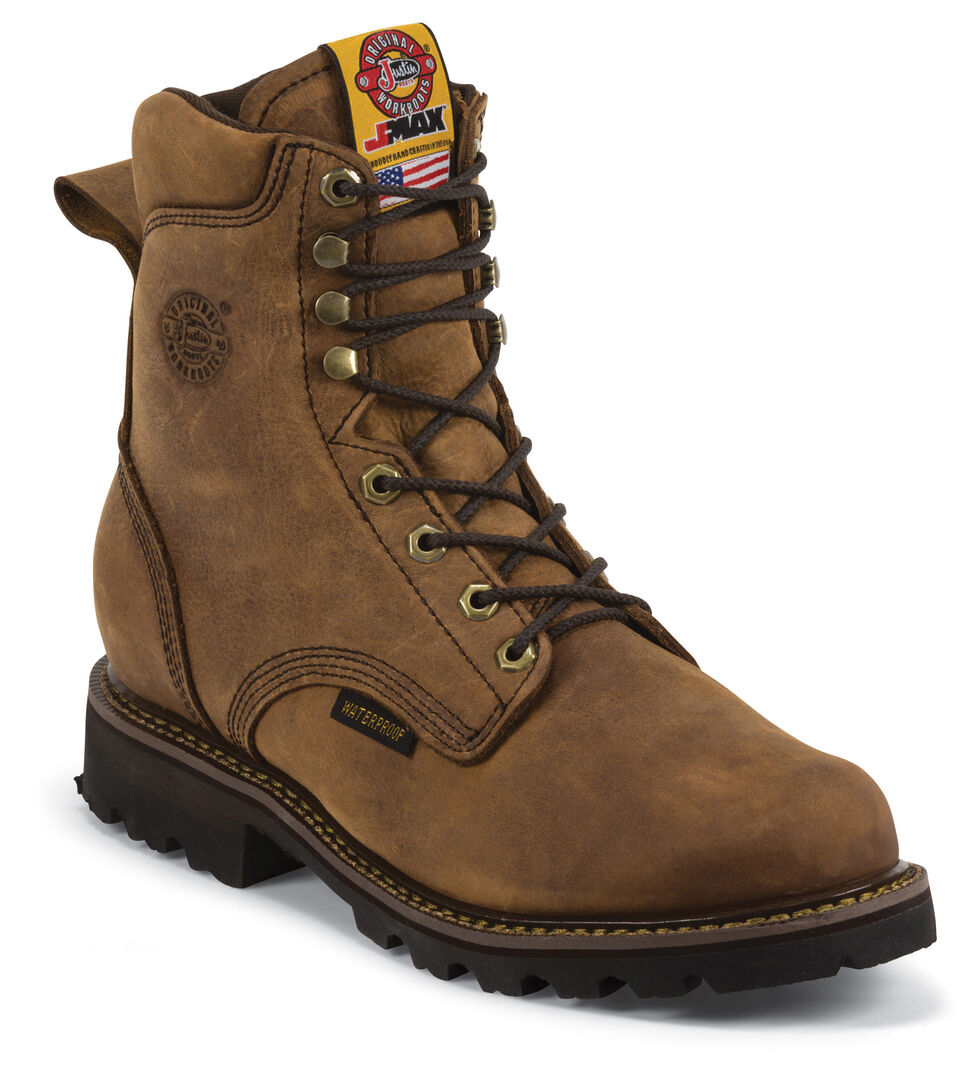 "Justin Men's J-Max 8"" Waterproof Insulated Work Boots - Soft Toe, Gaucho, hi-res"