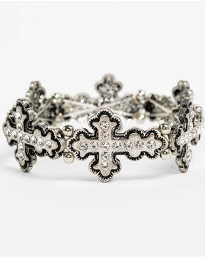 Shyanne Women's Bling Cross Stretch Bracelet, Silver, hi-res