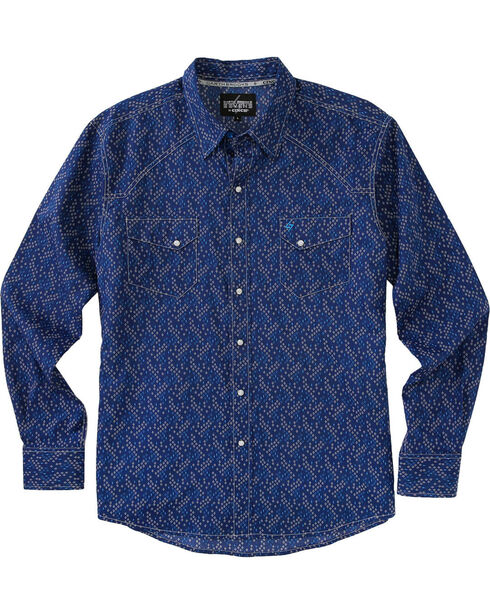 Garth Brooks Sevens by Cinch Men's Navy Clear Snaps Long Sleeve Shirt , Navy, hi-res