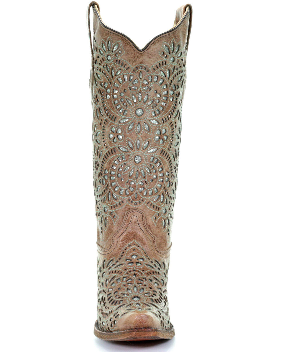 Corral Women's Glitter Inlay and Embroidered Cowgirl Boot - Snip Toe, Brown, hi-res