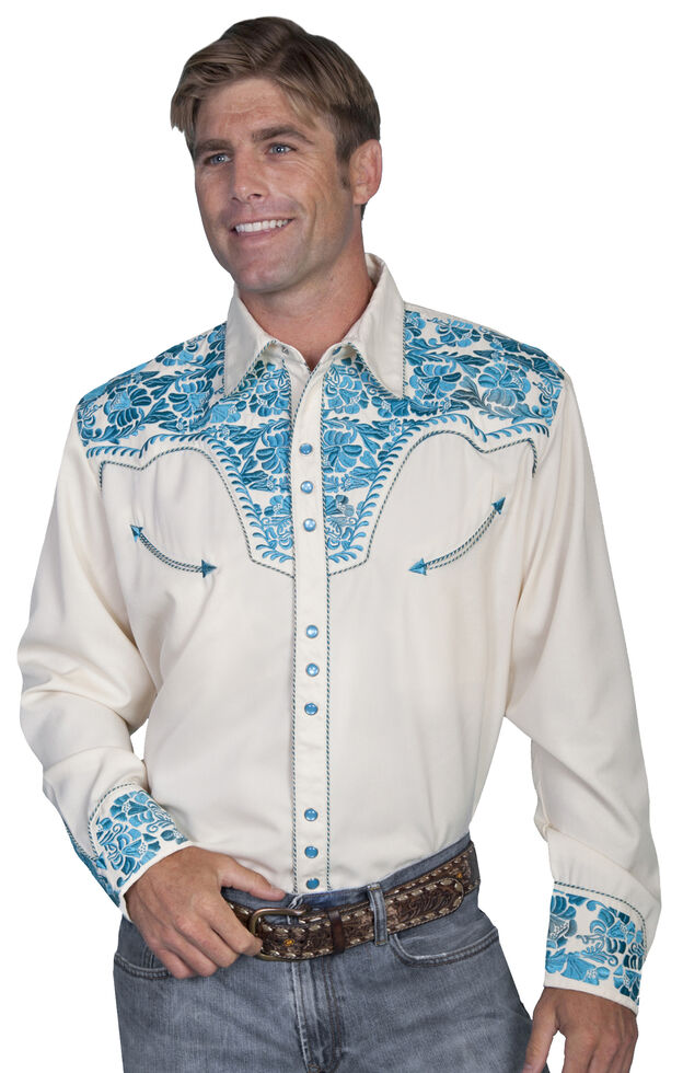 Scully Men's Embroidered Retro Western Shirt - Big & Tall, Cream, hi-res