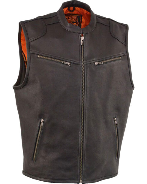 Milwaukee Leather Men's Black Cool Tec Leather Vest , Black, hi-res