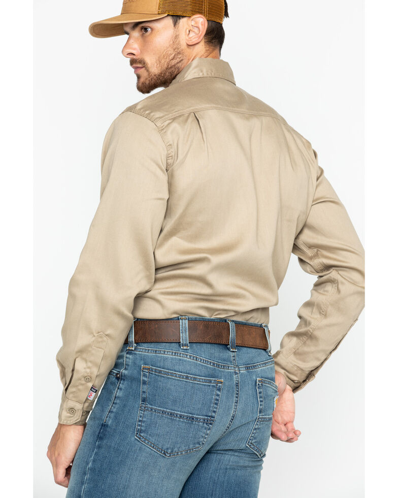 Carhartt Men's Flame Resistant Solid Twill Long Sleeve Work Shirt, Khaki, hi-res