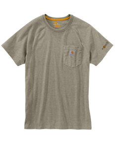 Carhartt Men's Khaki Force Cotton Delmont Short Sleeve Work T-Shirt , Beige/khaki, hi-res