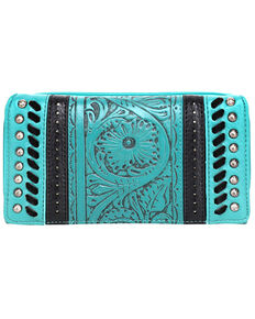 Trinity Ranch Women's Tooled Floral Wallet, Turquoise, hi-res