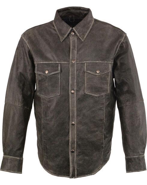 Milwaukee Leather Men's Grey Lightweight Leather Shirt - Big 3X , Grey, hi-res