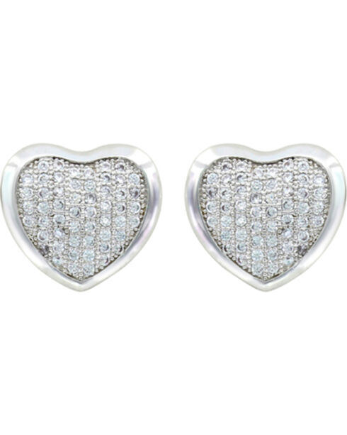 Montana Silversmiths Simply Pave Heart Earrings, Silver, hi-res