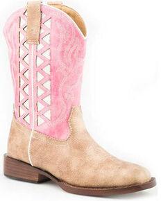 Roper Girls' Askook Western Boots - Wide Square Toe, Pink, hi-res