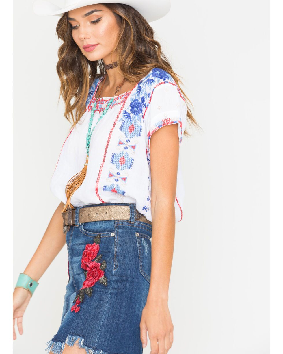 Johnny Was Women's White Zelda Mexican Peasant Top , White, hi-res