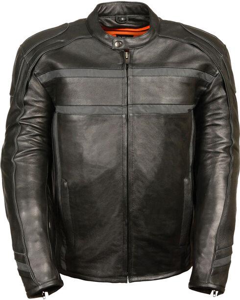 Milwaukee Leather Men's Black Reflective Band Scooter Jacket , Black, hi-res