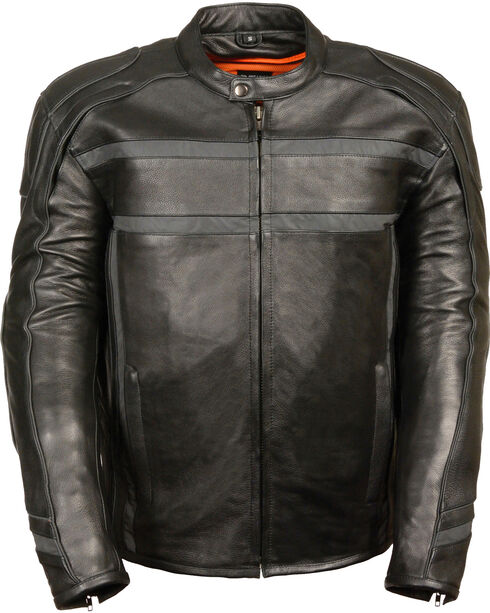 Milwaukee Leather Men's Black Reflective Band Scooter Jacket - Big 4X, Black, hi-res