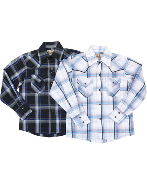 Ely Cattleman Boys' Assorted Textured Plaid Long Sleeve Western Shirt, Multi, hi-res