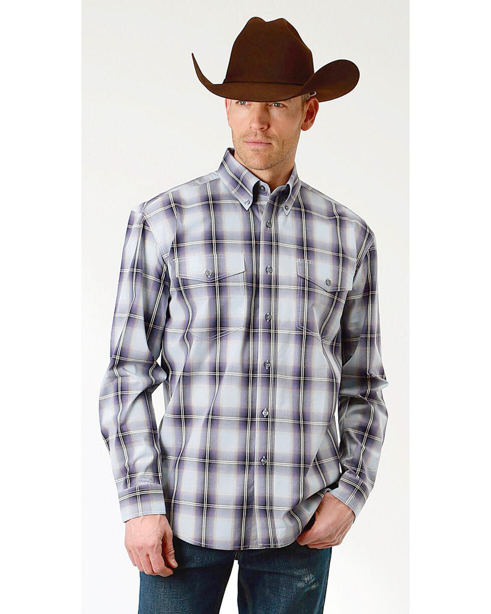 Roper Men's Winter Plum Plaid Long Sleeve Button Down Shirt, Blue, hi-res