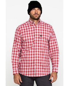 Wrangler Riggs Men's Red Plaid Long Sleeve Work Shirt , Red, hi-res