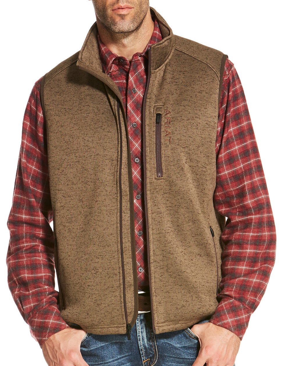 Ariat Men's Light Brown Caldwell Full Zip Vest, Light Brown, hi-res