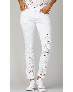 MM Vintage Women's White Paint Splatter Embroidered Boyfriend Jeans, White, hi-res