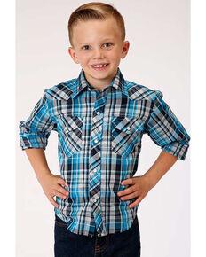 Roper Boys' Multi Plaid Snap Long Sleeve Western Shirt , Blue, hi-res