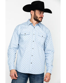 Moonshine Spirit Men's Excalibur Paisley Print Long Sleeve Western Shirt , Light Blue, hi-res