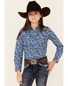 Roper Girls' American Blues Indigo Paisley Print Long Sleeve Snap Western Shirt , Blue, hi-res