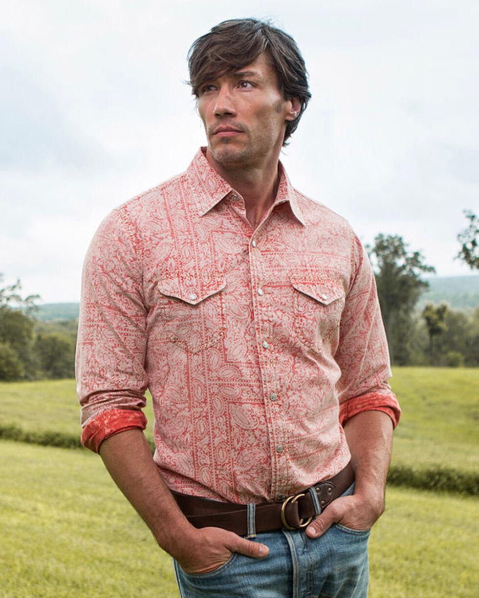 Ryan Michael Men's Campfire Distressed Bandana Print Long Sleeve Shirt, Red, hi-res