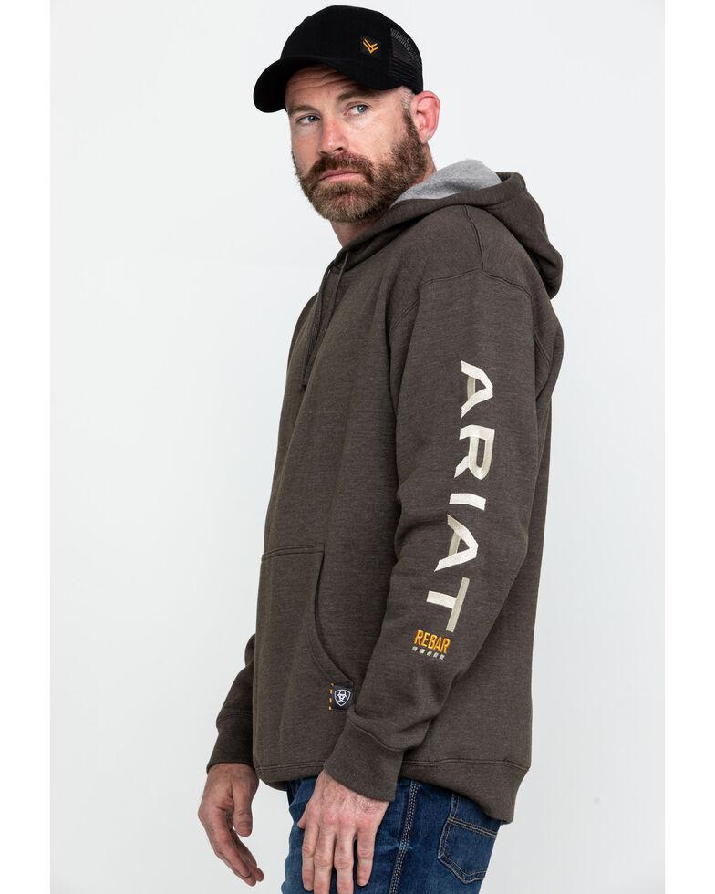 Ariat Men's Heather Bark Rebar Graphic Hooded Sweatshirt - Big & Tall , Bark, hi-res