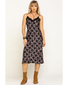 Eyeshadow Women's Lace Floral Midi Dress, Black, hi-res