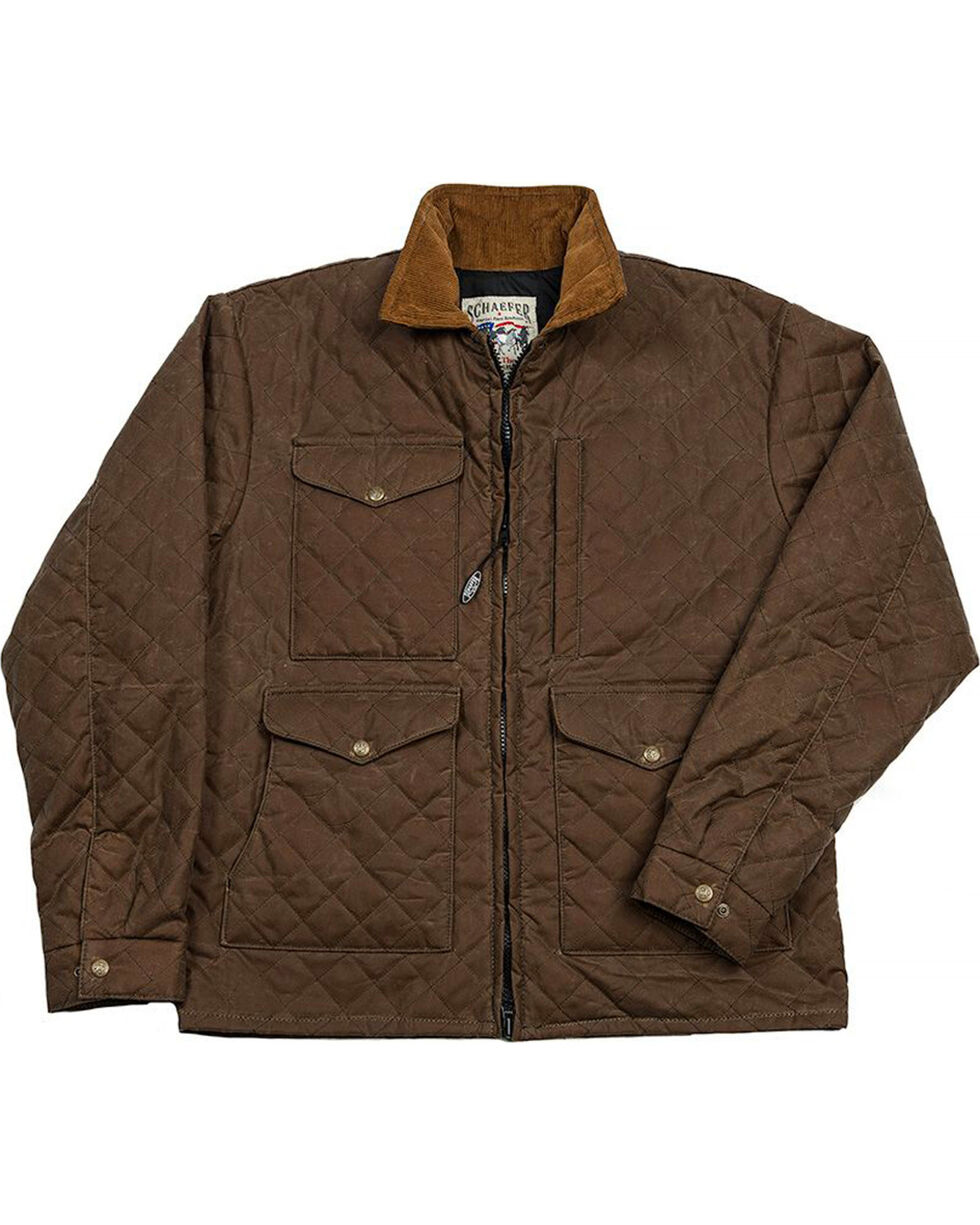 Schaefer Outfitter Men's Oak Blacktail Quilted Rangewax Jacket , Distressed Brown, hi-res