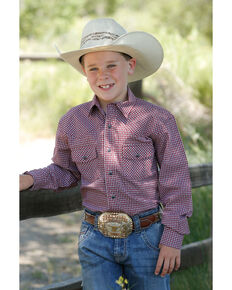 Cinch Boys' Red Geo Print Woven Long Sleeve Western Shirt , Red, hi-res