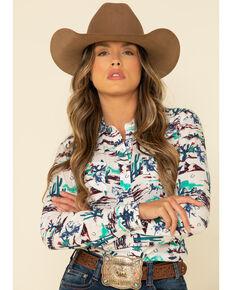 Wrangler Women's Allover Desert Scene Snap Short Sleeve Western Shirt, Teal, hi-res