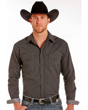Rough Stock by Panhandle Men's Black Travis Vintage Shirt , Black, hi-res