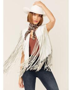 Circle S Women's White Fringe Vest, White, hi-res