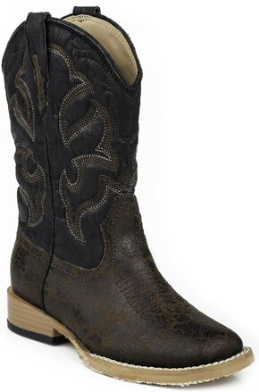 Roper Children's Distressed Faux Leather Cowboy Boots - Square Toe, Dark Brown, hi-res