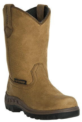 John Deere Boys' Johnny Popper Waterproof Western Boots - Round Toe, Coffee, hi-res