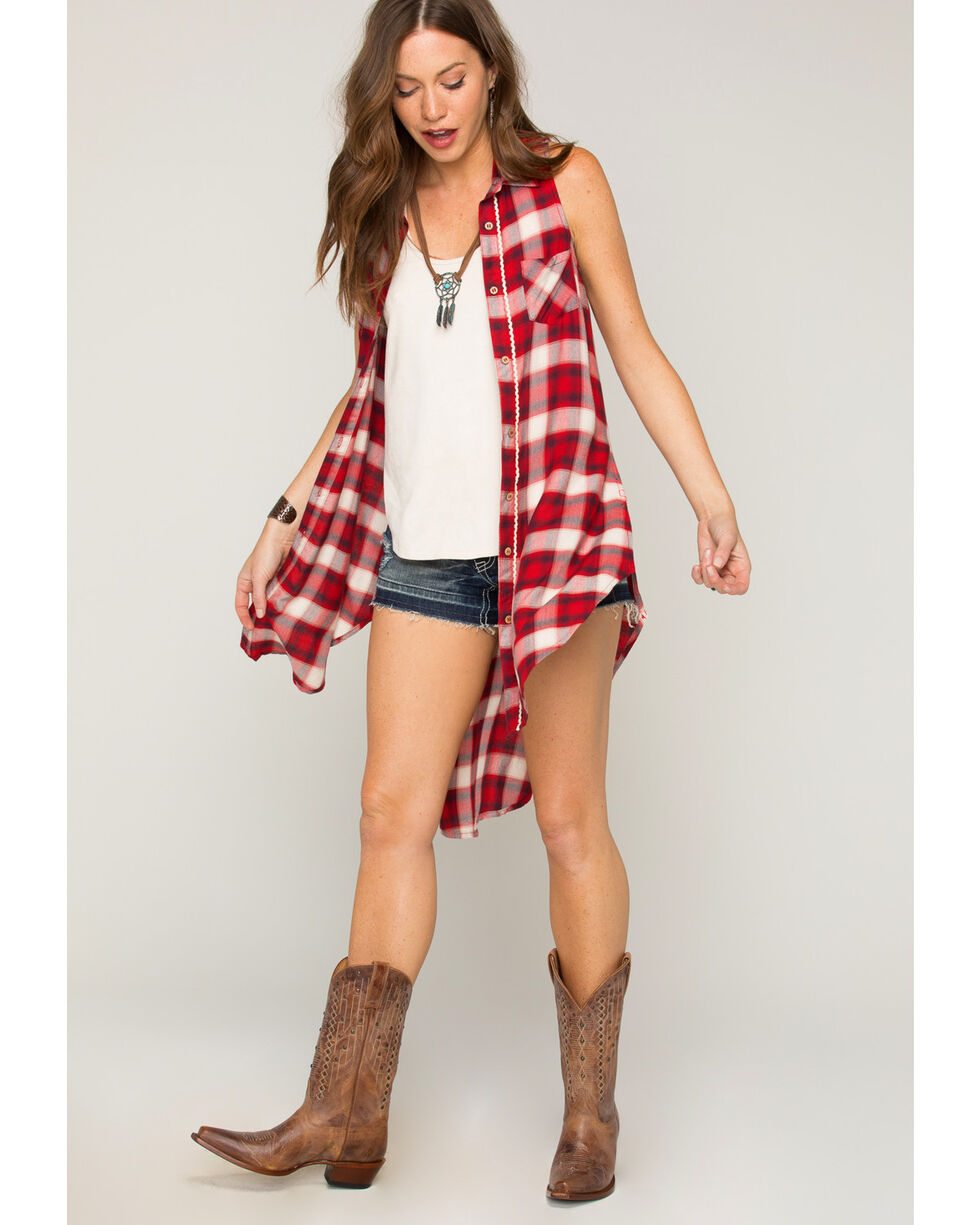 Shyanne Women's Sleeveless Plaid Button Front Duster, Red, hi-res