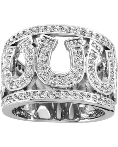 Kelly Herd Sterling Silver Rhinestone Horseshoe Ring, Silver, hi-res