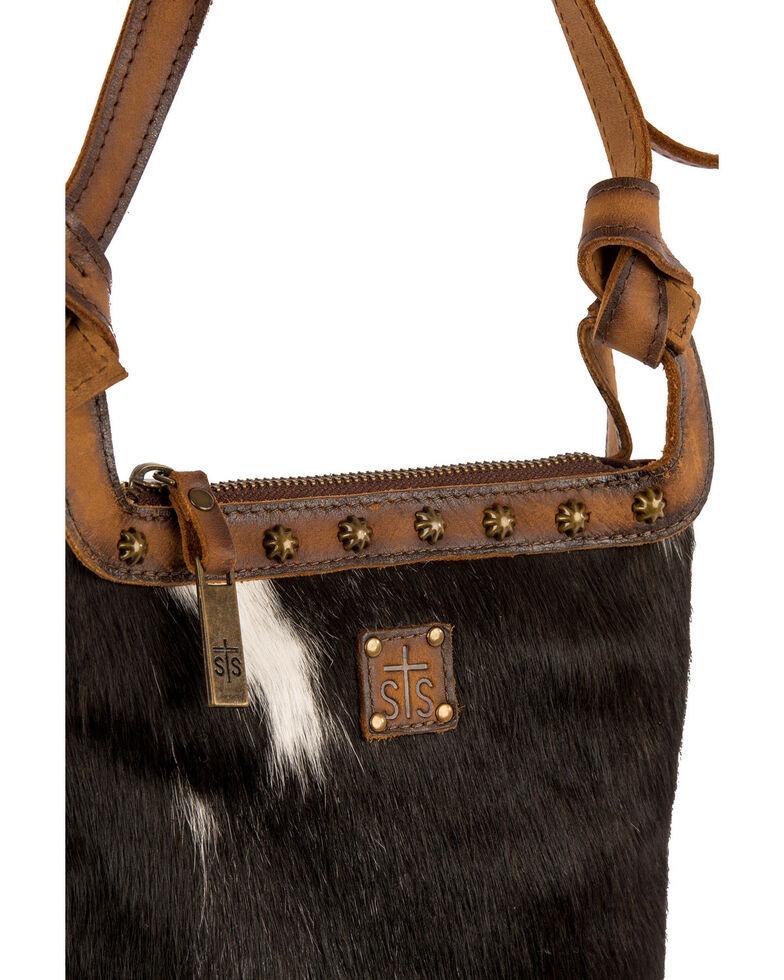 STS Ranchwear Women's Classic Cowhide Crossbody Bag, Black, hi-res