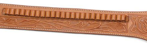 Western Express .45 Caliber Hand Tooled Leather Single-Gun Belt & Holster, Brown, hi-res