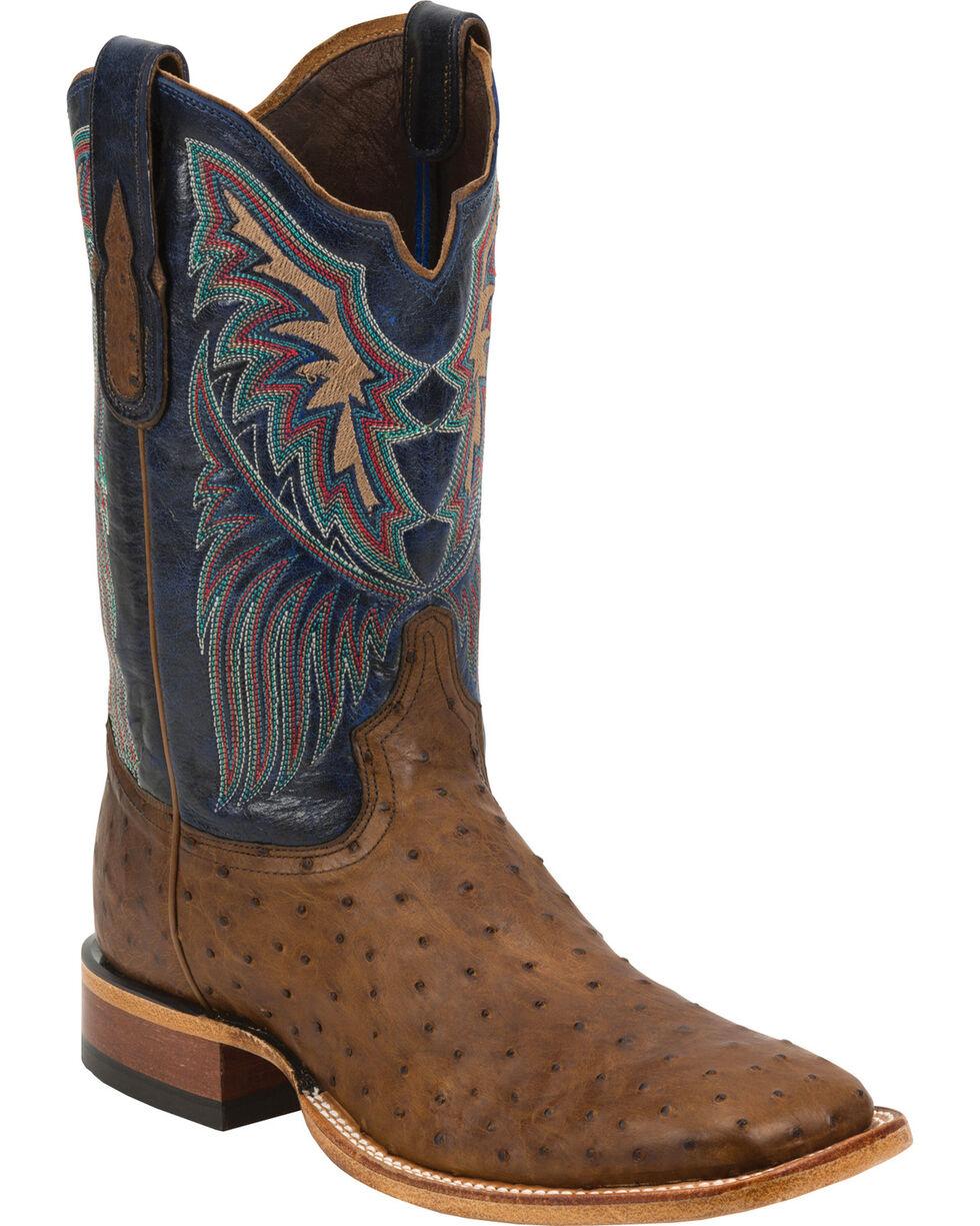 Tony Lama Black Label Full Quill Ostrich Cowboy Boots - Square Toe, Tan, hi-res