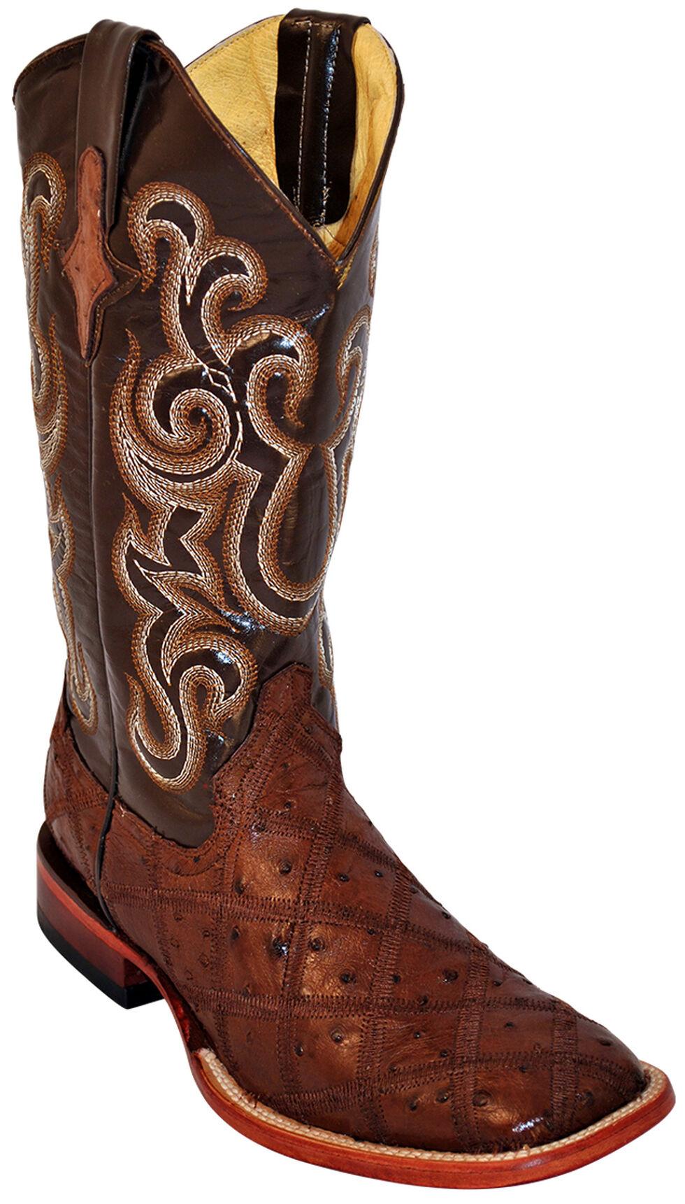 Ferrini Ostrich Patchwork Exotic Western Boots - Square Toe , Kango, hi-res