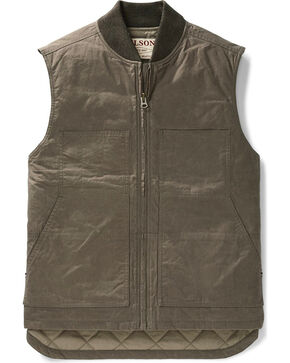 Filson Men's Dark Brown Dry Wax Work Vest , Dark Brown, hi-res