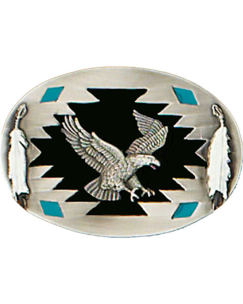 Western Express Men's Silver Eagle Belt Buckle , Silver, hi-res