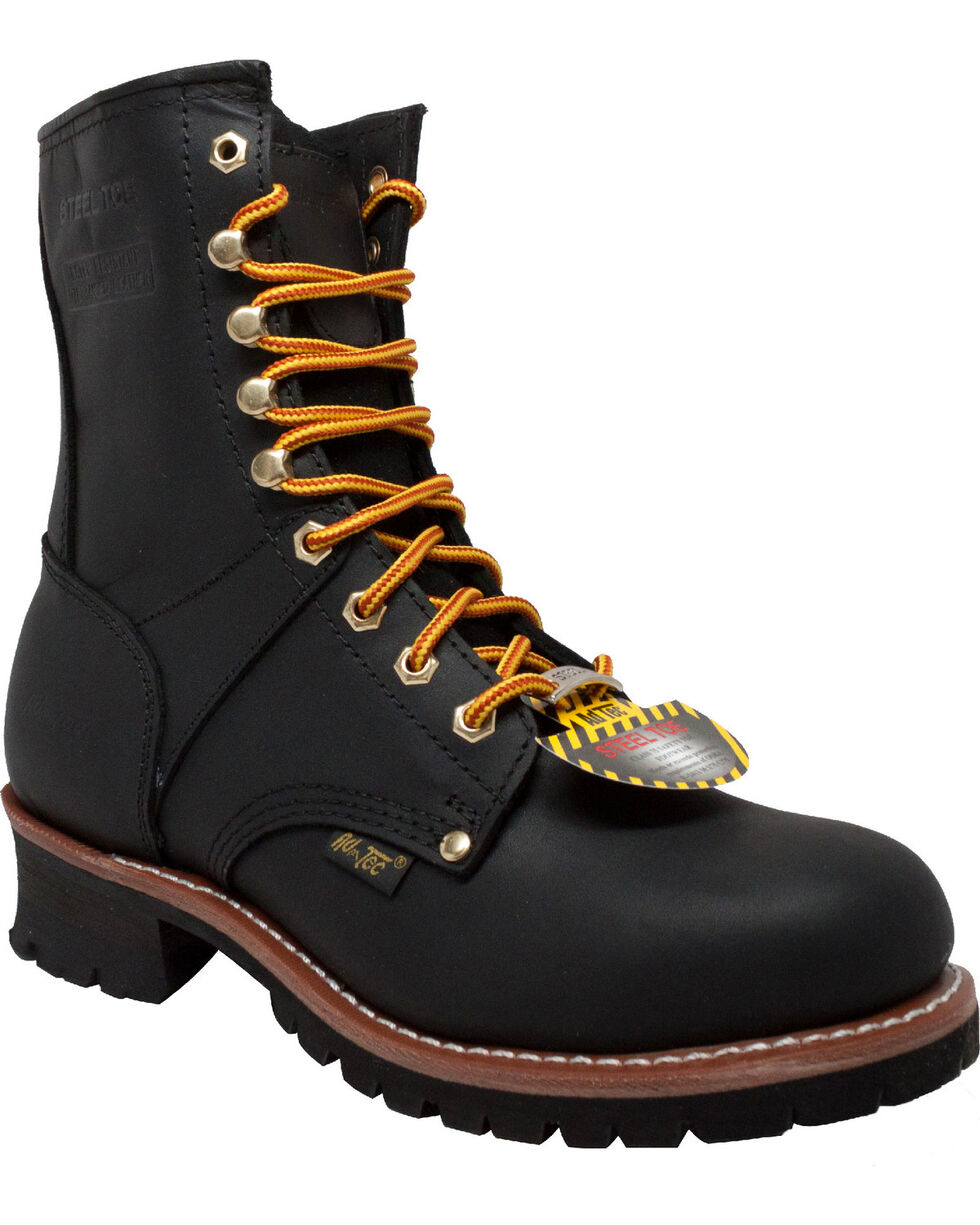 """Ad Tec Men's Black Logger 9"""" Work Boots - Steel Toe, Brown, hi-res"""