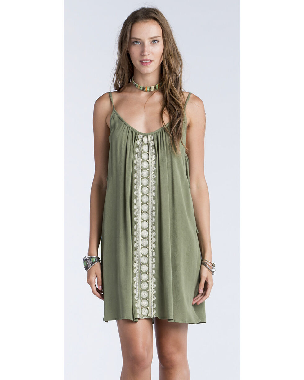 Miss Me Women's Olive Side Tie Swing Dress , Olive, hi-res