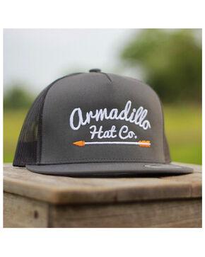Armadillo Hat Co. Men's Waylon Embroidered Arrow Logo Trucker Cap, Dark Brown, hi-res
