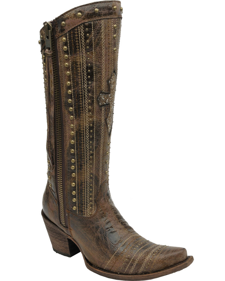 Corral Women's Brown Crystal Cross Stripes & Studs Tall Boots - Snip Toe, Brown, hi-res